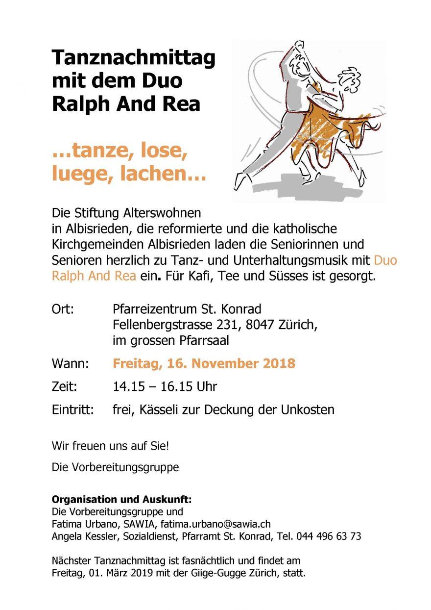 Plakat Tanznachmittag Nov. 2018